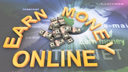 3d render of dollar packs with text earn money online