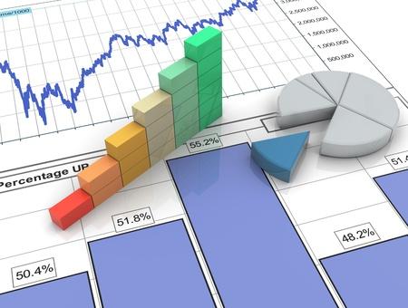 Photo pour 3d progress bar and pie chart on financial analysis report - image libre de droit