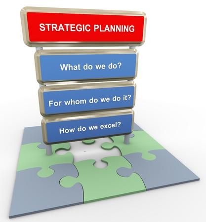Foto de 3d render of questions related to strategic planning on puzzle peaces - Imagen libre de derechos