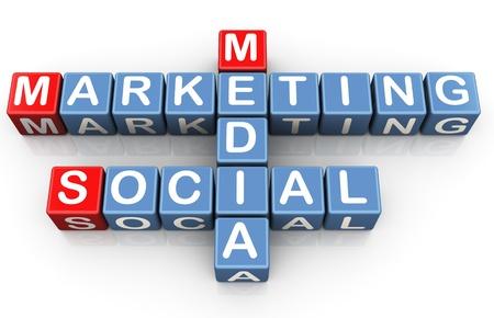 Photo for 3d render of crossword of social media marketing - Royalty Free Image