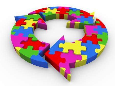 Foto de 3d render of circular flowchart puzzle  - Imagen libre de derechos
