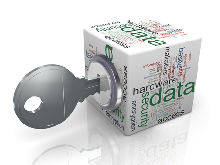 3d render of data protection wordcloud cube with key  Concept of securing and protecting sensitive data