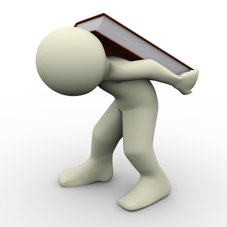 3d render of man carrying book on his back  Concept of learning difficulties