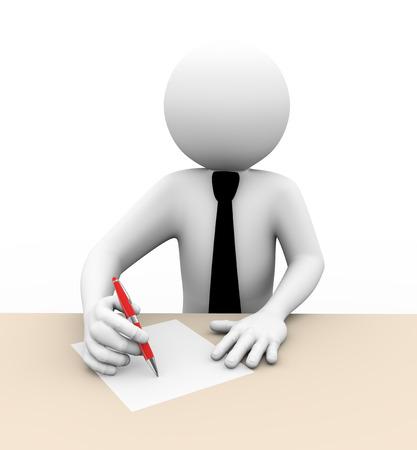 Foto de 3d rendering of business person writing on paper  3d white people man character  - Imagen libre de derechos
