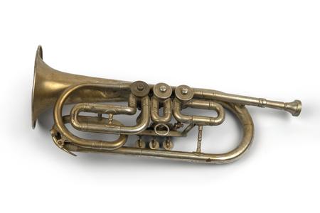Photo pour Old golden trumpet on a white background, isolated - image libre de droit