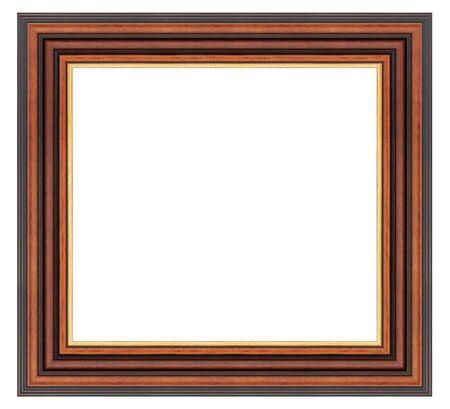 Photo pour Vintage brown wooden frame on a white - image libre de droit