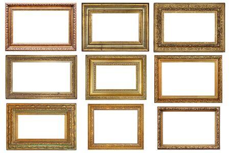 Photo pour Set of old vintage golden frames on a white - image libre de droit