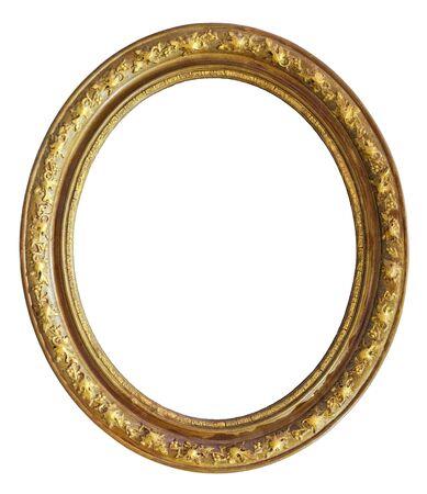 Photo pour Vintage golden round frame on a white background, isolated - image libre de droit