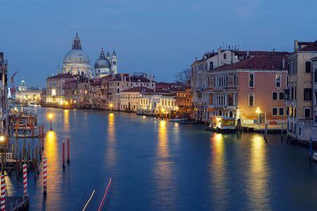 Photo for View of the Grand Canal and Basilica Santa Maria Della Salute at nigh - Royalty Free Image