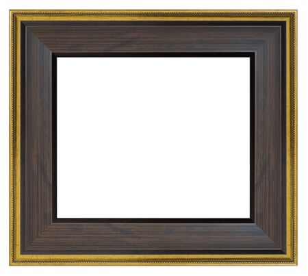 Photo pour Vintage brown wooden frame on a white background, isolated - image libre de droit