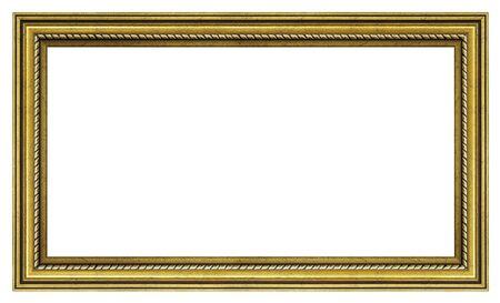 Photo pour Vintage golden frame on a white background, isolated - image libre de droit