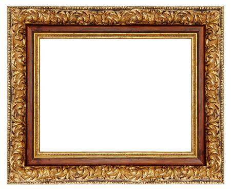 Photo pour Vintage golden square frame on a white background, isolated - image libre de droit