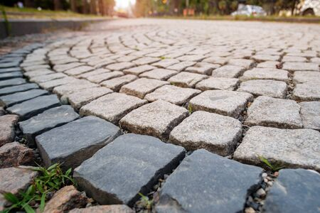 Photo for Pavement made from stone cubes in perspective, selective focus  - Royalty Free Image