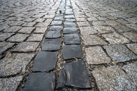 Photo for Traditional color stone wet pavement in perspective, selective focus - Royalty Free Image