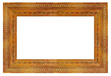 Photo pour Old vintage golden frame isolated on a white background - image libre de droit