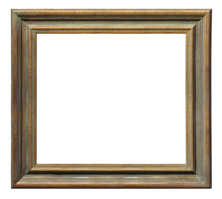 Photo pour Old vintage wooden golden brown frame isolated on a white background - image libre de droit