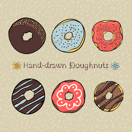 Set of Hand-drawn Dougnuts with Hand-drawn Seamless Pattern on Background