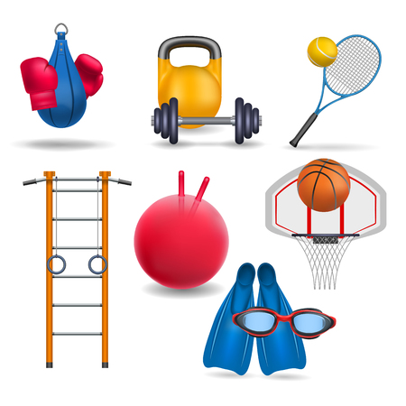 Ilustración de Sports equipment. Gym wall bars, sports rings,  gym bal, dumbbell and barbell, tennis racket and tennis ball, punching bag and boxing gloves, basketball and basketball hoop, flippers and swimming goggles. Sport and gym theme. - Imagen libre de derechos