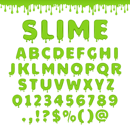 Illustration pour Green slime font. Alphabet with flow drops and goo splash. Vector latin abc. Liquid toxic, radioactive text in zombie style. Numbers and symbols isolated on white background. - image libre de droit