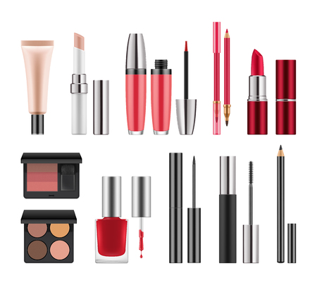 Realistic packages for decorative cosmetics.