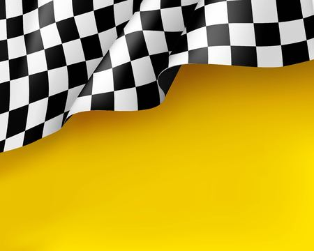 Illustration pour Symbol racing canvas realistic yellow background. Flag upright, sign marking start and finish. Vector illustration - image libre de droit