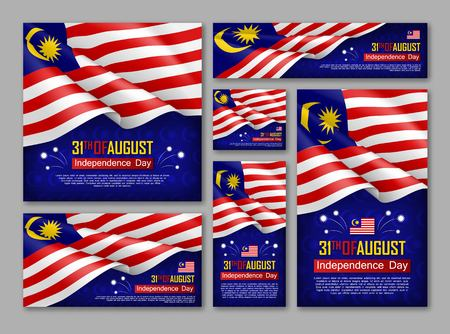 Illustration pour Malaysian Independence day celebration posters set. 31th of August felicitation greeting vector illustration. Realistic backgrounds with malaysian flag. Malaysian national patriotic holiday. - image libre de droit