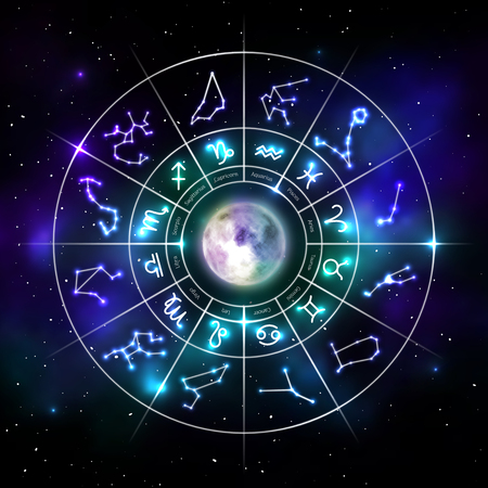 Illustration pour Zodiac circle with astrology symbols in neon style - image libre de droit
