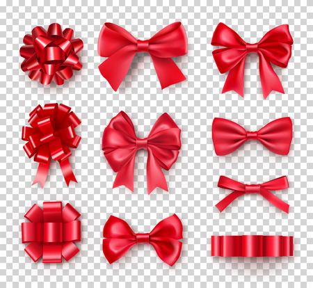 Illustration pour Romantic red gift bows with ribbons. Realistic decoration for holidays presents and cards. Elegant object from silk vector illustration. Chrismas or birthday decor isolated on transparent background - image libre de droit