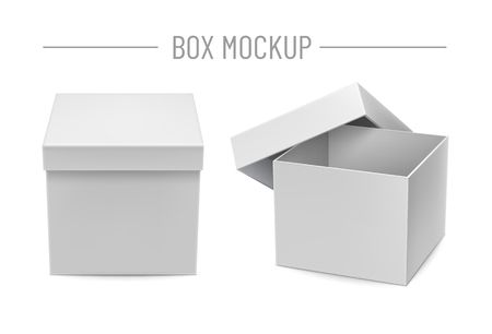 Illustration pour Blank cardboard boxes mockups isolated on white background vector illustration. Front view closed and opened realistic white box for retail advertising campaign. Template for create branding identity. - image libre de droit