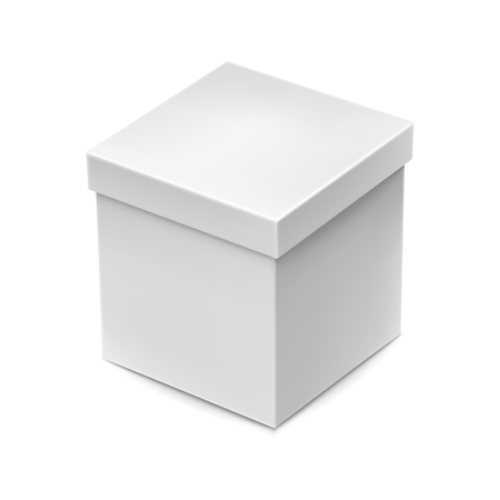 Illustration pour Blank packaging cardboard box mockup isolated on white background vector illustration. Realistic white box ready for product design and presentation. Template for create branding identity. - image libre de droit