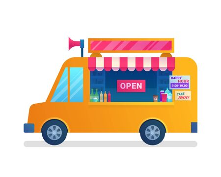 Illustration pour Food truck isolated icon in flat style. - image libre de droit