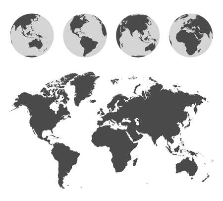 Illustration for Monochrome world map and Earth globes set - Royalty Free Image