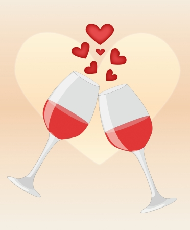 Photo pour Happy anniversary  Two glasses of red wine on heart background illustration - image libre de droit