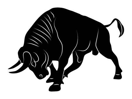 Illustration pour Bull silhouette attack logo On a transparent background vector - image libre de droit