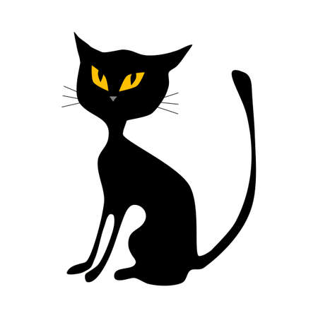 Illustration for Black cat. halloween cat isolated on white background. vector illustration - Royalty Free Image