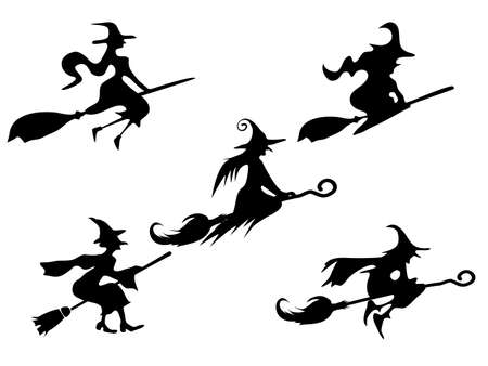 Illustration for set of silhouettes Witch On Broomstick. for Illustration vector halloween - Royalty Free Image