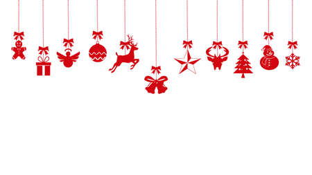 Ilustración de christmas ornaments hanging rope red. isolated on background. vector eps - Imagen libre de derechos