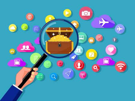 Illustration for Finding treasures on online communication networks. Vector illustration - Royalty Free Image