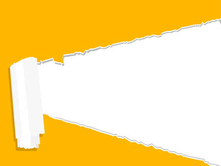 Illustration for yellow ripped open paper with white background. place for your text vector - Royalty Free Image