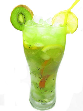 kiwi smoothie cocktail drink with ice and mint