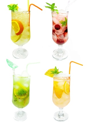 group of fruit juice lemonade drink with ice and mint