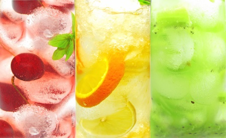 glasses of fruit green yellow red lemonade with ice and mint