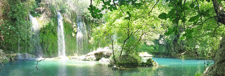 kursunlu waterfall panorama in national park turkey