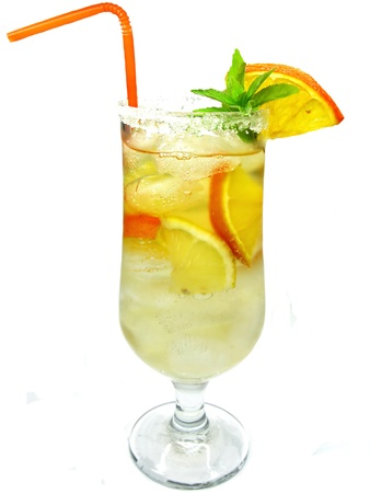 fruit juice cocktail drink lemonade with ice and mint