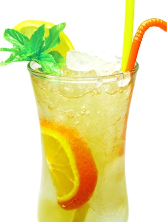 fruit yellow cocktail lemonade with ice and mint