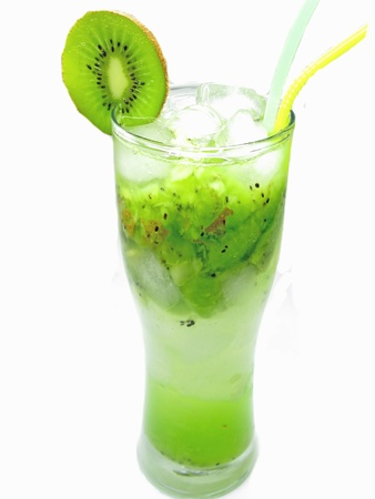 fruit cocktail with kiwi juice drink with ice and mint
