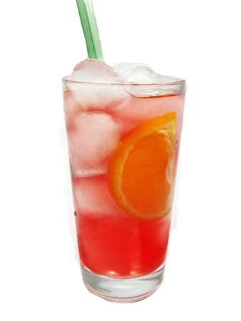 red alcoholic cocktail drink with ice