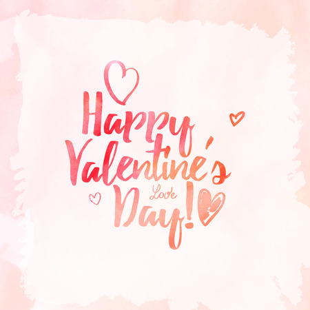 calligraphy on red grungy watercolor stain background - Happy Valentine's day