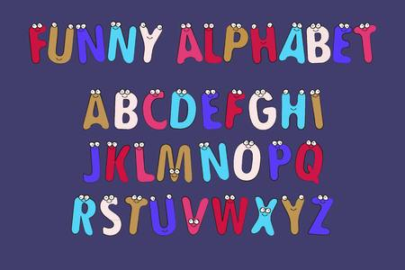 Cartoon Vector Illustration of Funny Capital Letters Alphabet for Children Education. Funny alphabet with eyes. Vector illustration.
