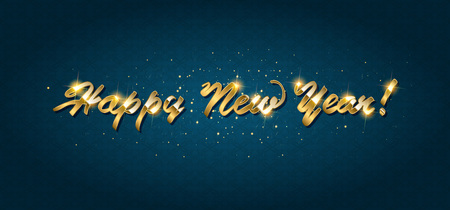 Ilustración de Gold Happy New Year greeting text on dark background. Luxury lettering for vip holiday card design - Imagen libre de derechos